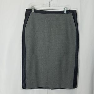 J. Crew Collection Leather Trim Pencil Skirt 12
